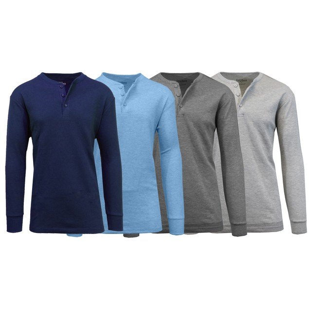 4-Pack Galaxy By Harvic  Men's Waffle-Knit Thermal Henley Tee