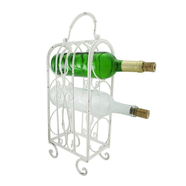 Decorative White Metal Tabletop Wine Rack Tabletop Wine Racks