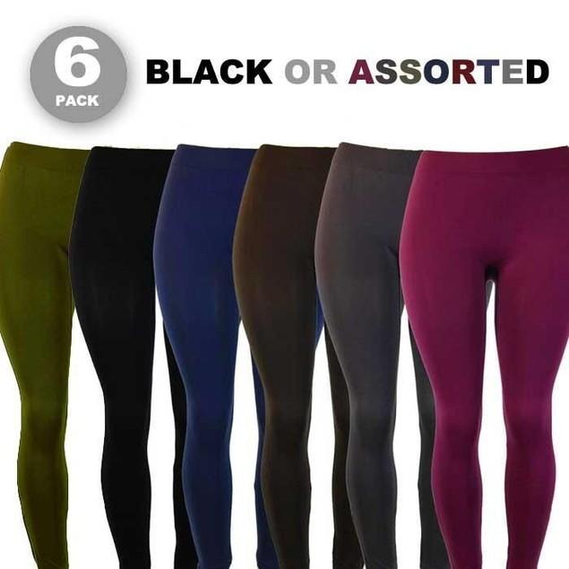 6-Pack Fleece-Lined Seamless Leggings