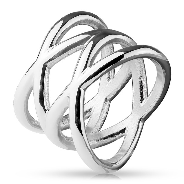 Double X Stainless Steel Ring