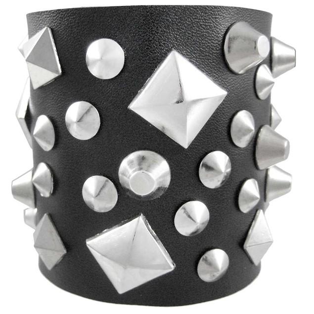Black Leather Triple Snap Clasp Wristband Chrome Mens Leather Bracelets