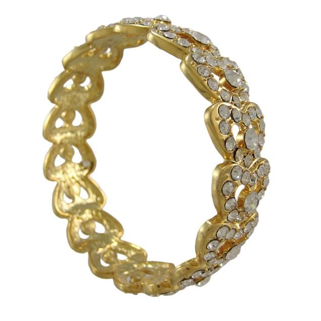 Goldtone Rhinestone Encrusted Bangle Bracelet Womens Bangle Bracelets