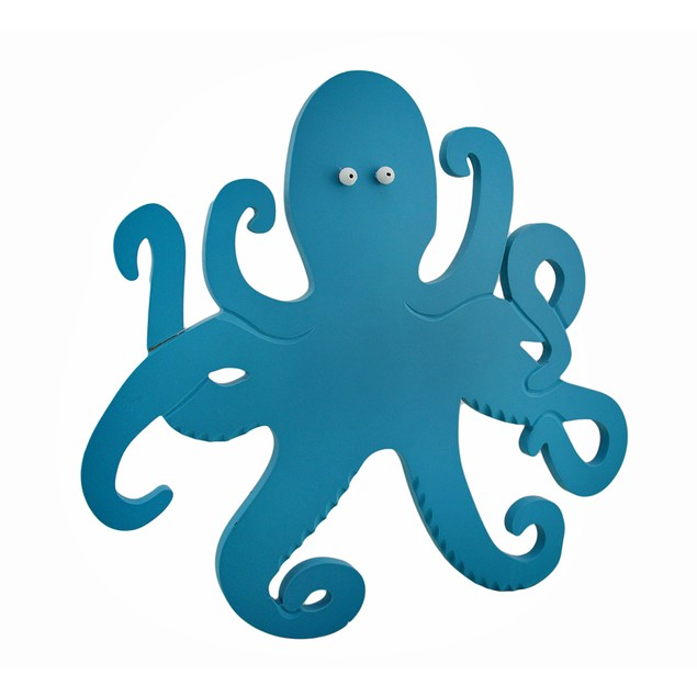Turquoise Blue Octopus Wooden Wall Plaque 16 X 15 Decorative Plaques