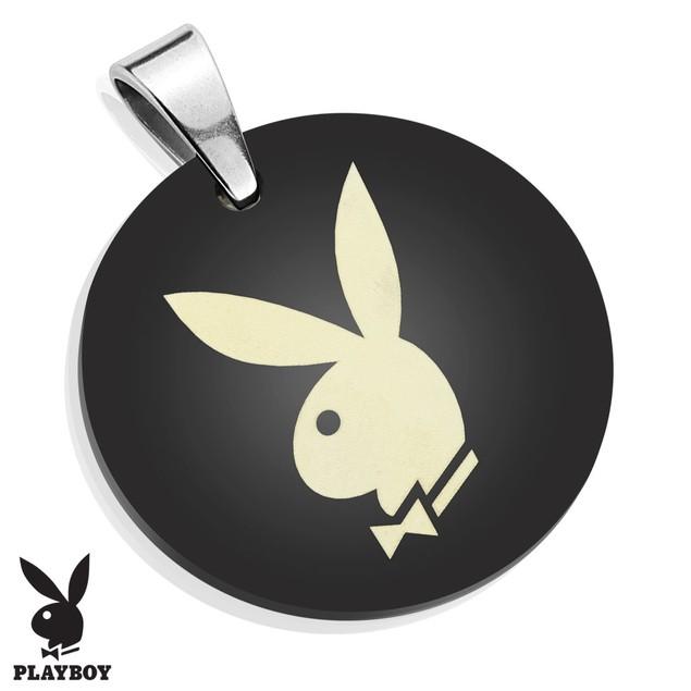 Playboy Logo Laser Etched Medallion Black IP Stainless Steel Pendant