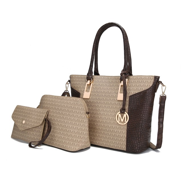 Mia K. Collection Shonda 3PC Tote with Cosmetic Pouch & Wristlet