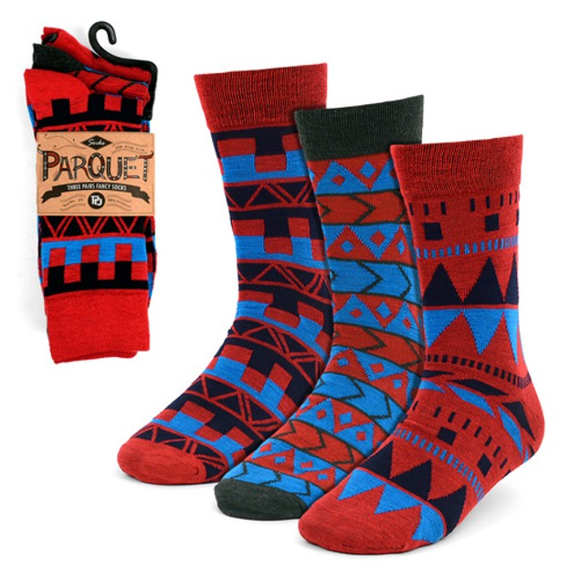 6 Pairs Men's Parquet Printed Dress Socks