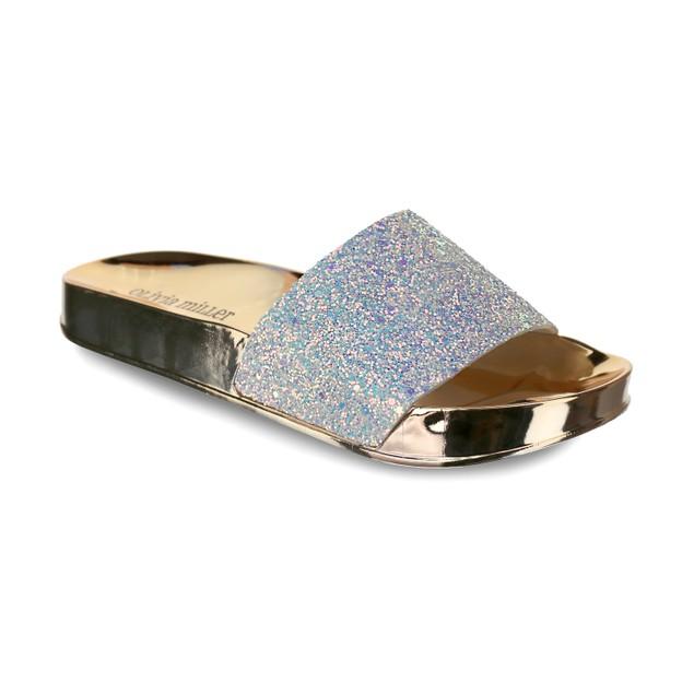 Olivia Miller 'Delray' Chunky Glitter Metallic Sock Pool Slide Sandals