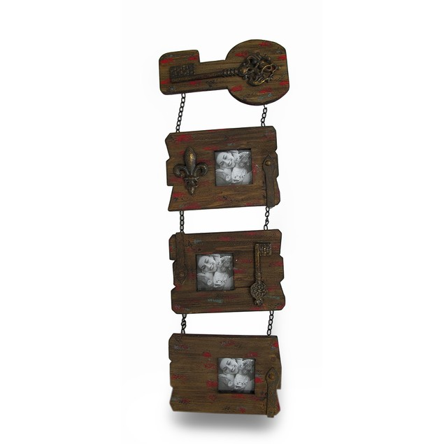 3 Panel Shabby Chic Recycled Wood Wall Photo Frame Frames