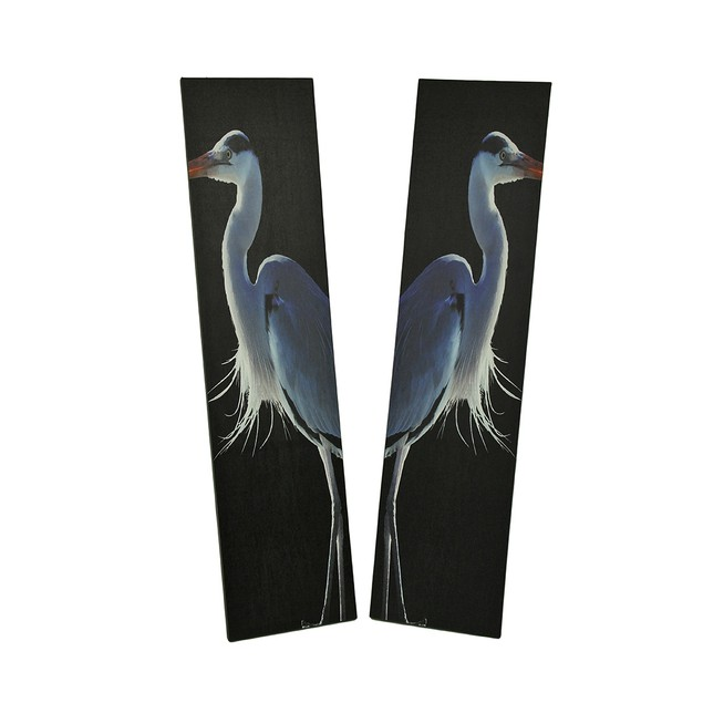42 In. Twin Herons Black And White Canvas Print Prints