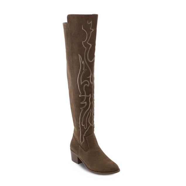 Olivia Miller 'Bohemia' Embroidered Chunky Heel Over the Knee Boots