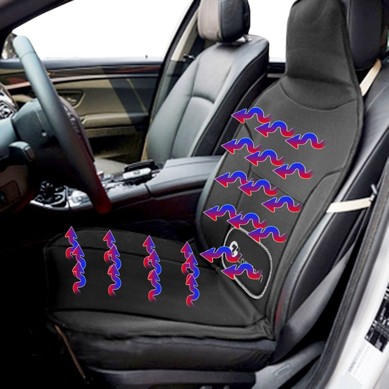 Zone Tech Car Seat Cover Massaging Cooling Heating Cushion