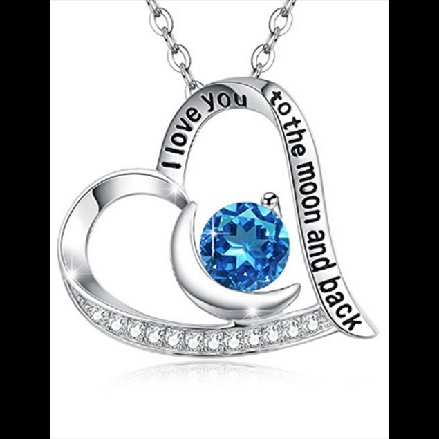 """""""I Love You To The Moon And Back"""" Sapphire Heart Necklace"""