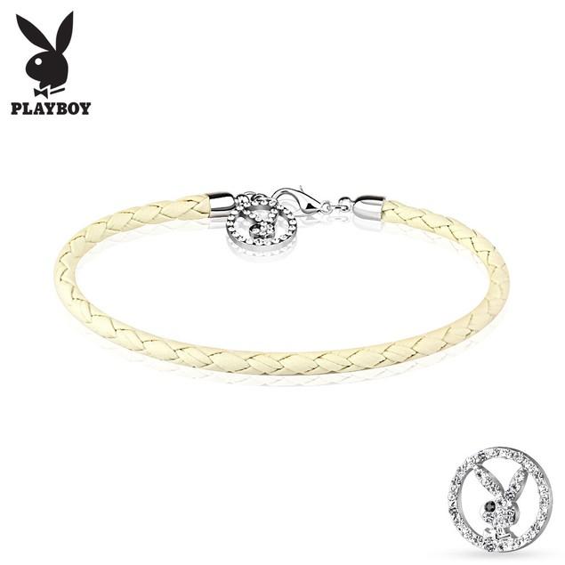 Gemmed Playboy Bunny Round Logo Braided Leatherette Bracelet