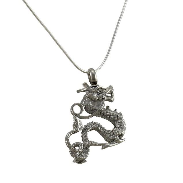 Stainless Steel 3D Dragon Keepsake Memorial Vial Womens Pendant Necklaces