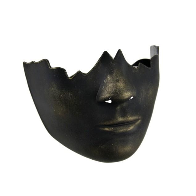 Black And Gold Finish Broken Doll Face Half Mask Mens Costume Masks