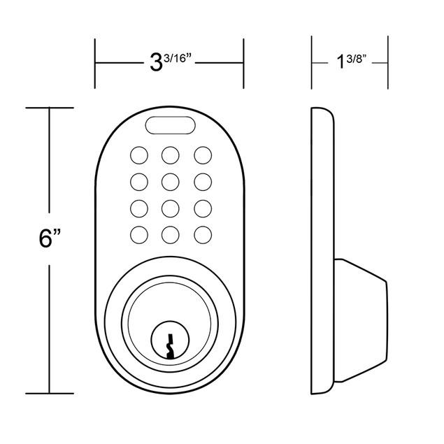 MiLocks Keyless Entry Deadbolt with RF Remote Control Satin Nickel