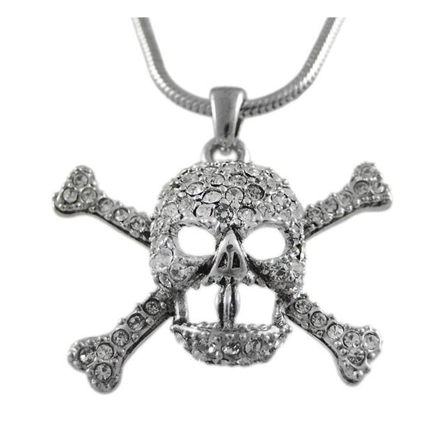 Rhinestone Skull & Crossbones Pendant Snake Mens Necklaces