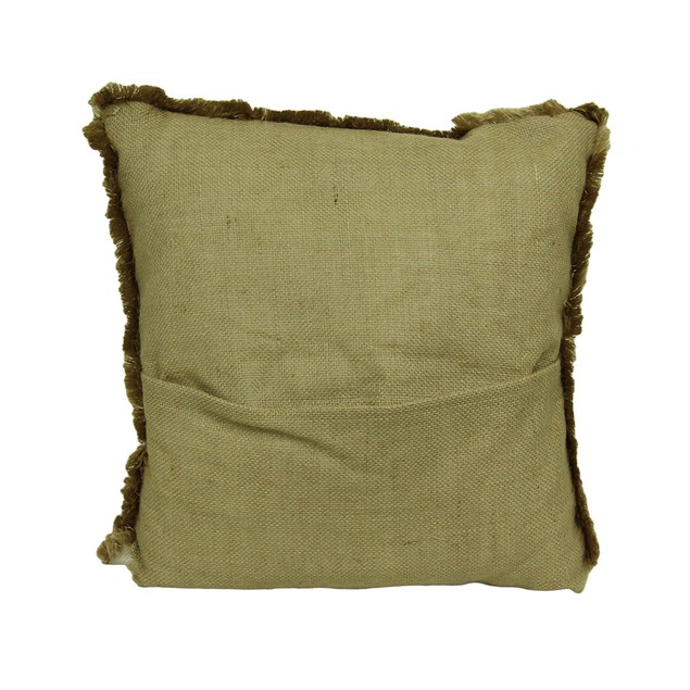 Farm To Table Fringed Burlap Throw Pillow Set Of 3 Throw Pillows