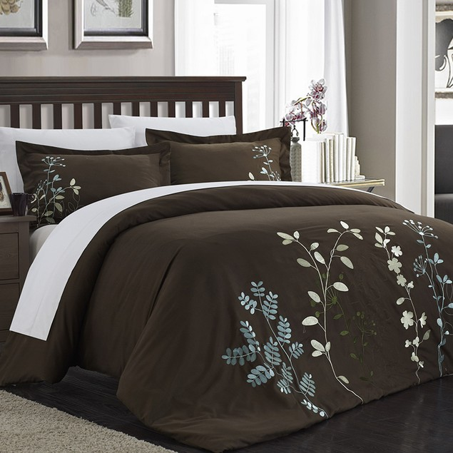 Chic Home 3 Piece Samantha Floral Embroidered Duvet Set