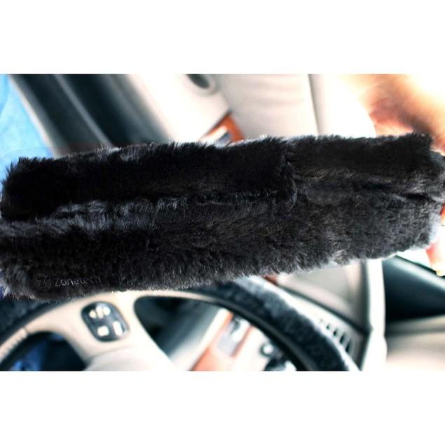 2-Pack Zone Tech Black Fleece Car Seat Belt Covers