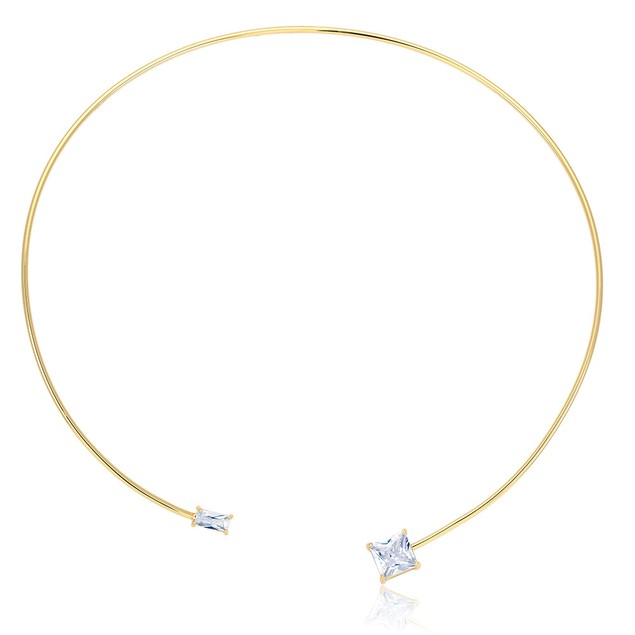 Open Wire Choker Cubic Zirconia Necklace