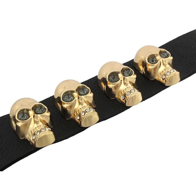 Black Leather Wristband W/ Goldtone Skulls And Mens Leather Bracelets