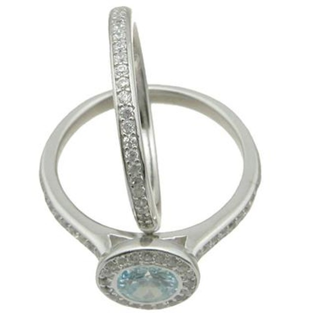 1.25 Ct  Round Simulated BlueTopaz Halo Wedding Ring Set Sterling Silver