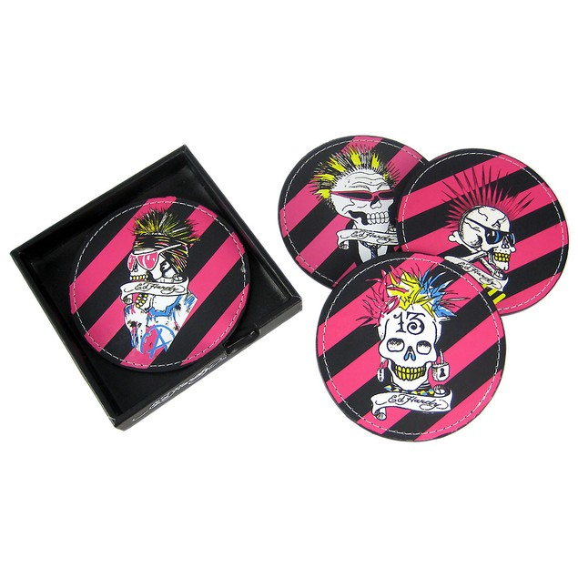 2 Sets Of 4 Ed Hardy Punked Skull Leather Coasters Coasters