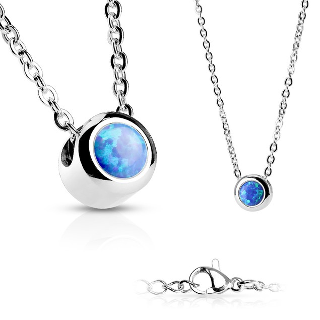 Stainless Steel Genuine Opal Pendant Necklace - Assorted Colors