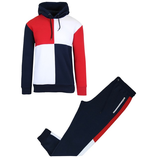Men's Fleece-Lined Hoodie & Jogger 2-Piece Sets With Color Block Design