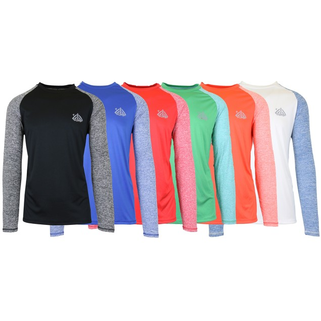 6-Pack Men's Long Sleeve Moisture Wicking Tee w/ Contrast Sleeves