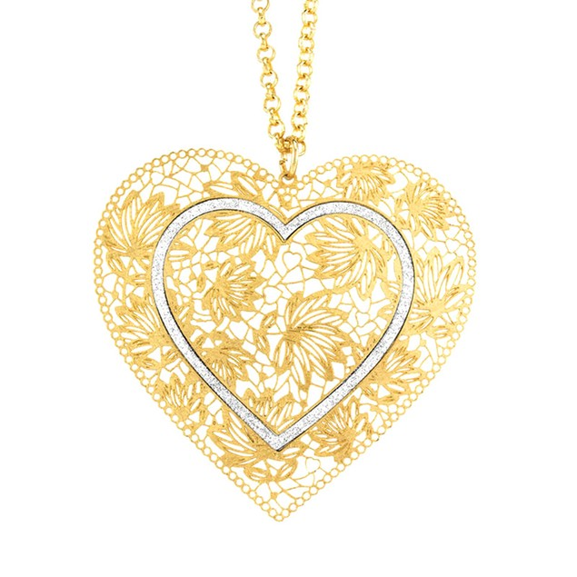 18kt Gold Plated Double Heart Glitter Necklace