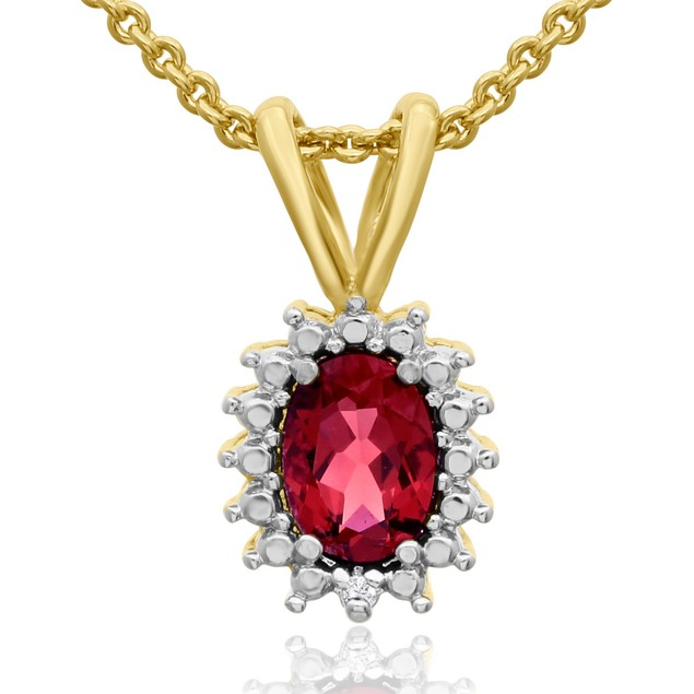 3/4 Carat Oval Created Ruby and Halo Diamond Necklace