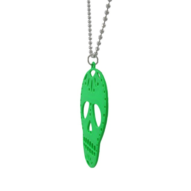 Green Enamel Sugar Skull Necklace Dod Mens Pendant Necklaces