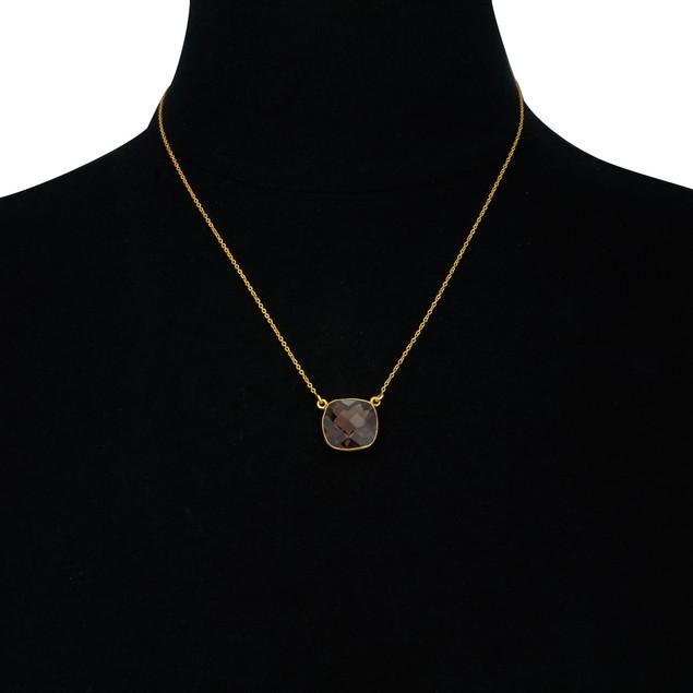 Gold Tone 12ct Cushion Cut Blue Onyx Pendant