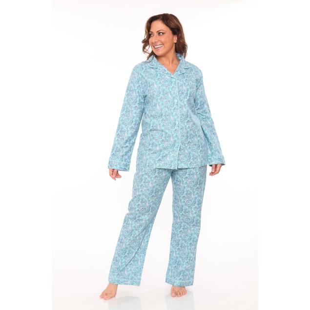 White Mark 100% Cotton Flannel Pajama Set