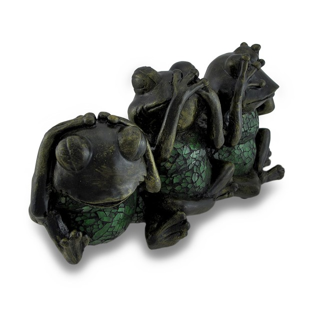 No Evil Frogs Crackle Glass Accent Lamp - Green