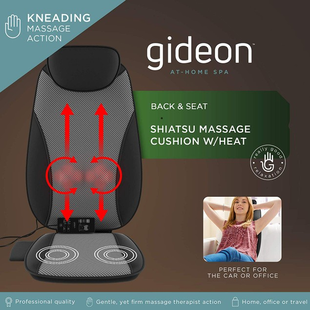 Gideon Shiatsu Back Massager Deep Kneading Seat Cushion Dual Motor Design