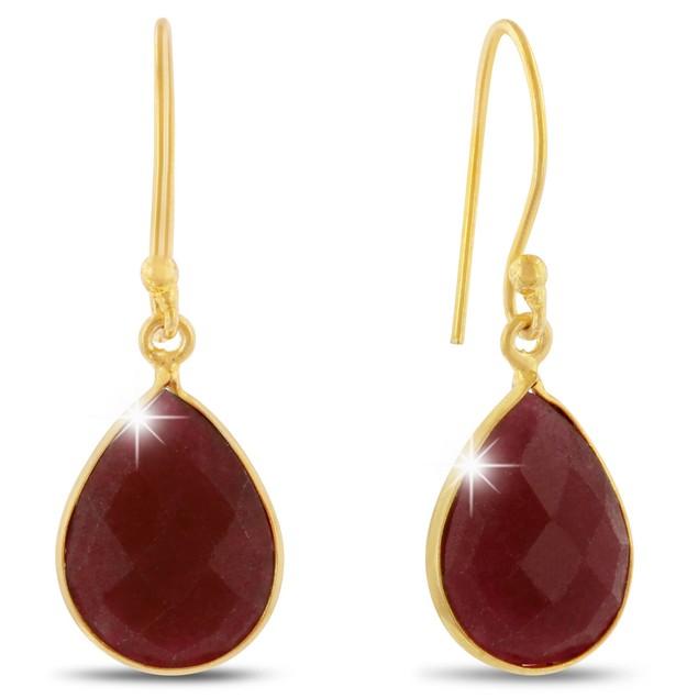 12ct Dyed Ruby Pear Shape Earrings In 18 Karat Gold Overlay