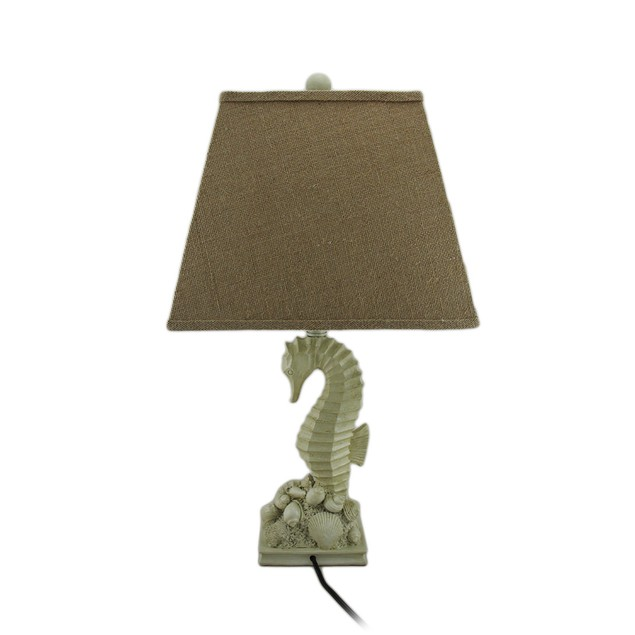 25 In. Seahorse On Shells Tropical Beige Finish Table Lamps