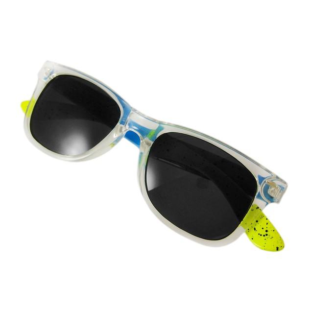 Neon Blue / Yellow Retro 80`S Style Sunglasses Sunglasses