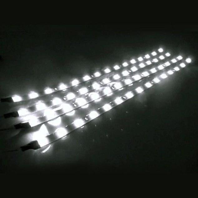 Zone Tech 4x White 30cm 15 LED Strips Car Decoration