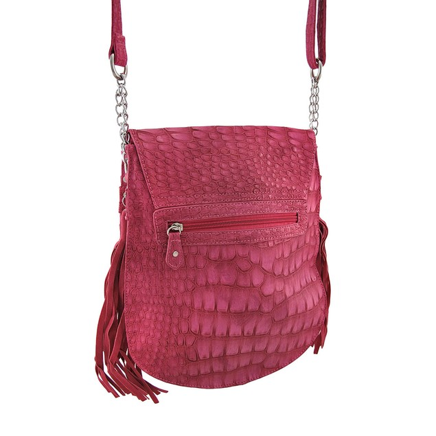 Fuchsia Mock Croc Cross Body Bag With Tassels And Womens Cross Body Bags