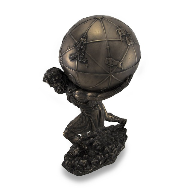 Bronzed Atlas Holding Up Celestial Sphere Decorative Boxes