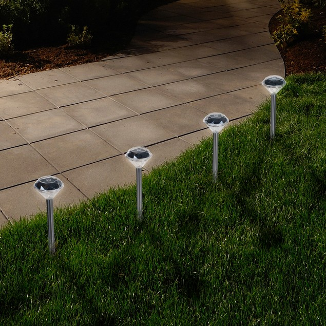 Pure Garden LED Solar Diamond Pathway Lights - Set of 24