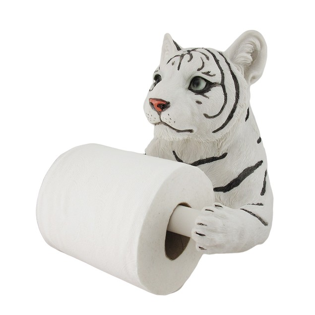 White Tiger Sculptured Bath Tissue Holder Toilet Paper Holders