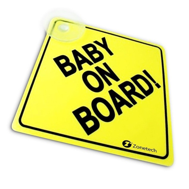 "Zone Tech Baby On Board Rusable Safety Sign Decal with Suction Cup 5""x5"""