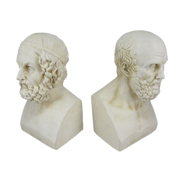 Aristotle And Homer Bust Bookends Greek Philosophy Decorative Bookends
