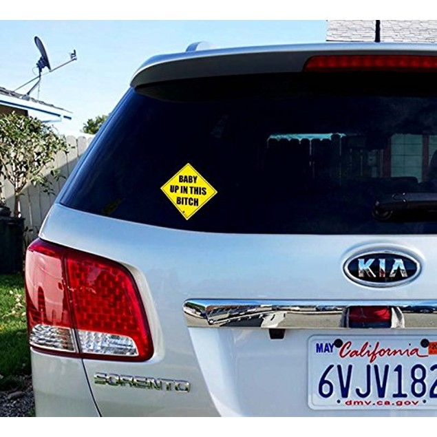 """Zone Tech """"Baby Up In This Bitch"""" Car Window Bumper Car Reflective Sticker"""