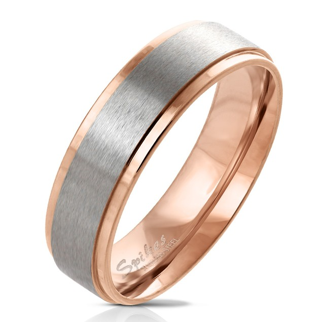 Stepped Edge Brushed Steel Center Ring - 4 Colors